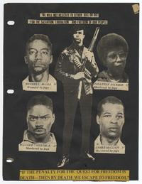 """We will not hesitate to either kill or die!"" collage from the Black Panther Party Scrapbook"
