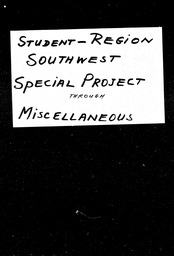 Student: Southwest region YWCA of the U.S.A. records, Record Group 11. Microfilmed central files