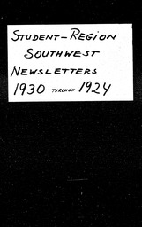 Student: Southwest region YWCA of the U.S.A. records, Record Group 11. Microfilmed headquarters files