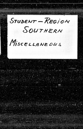 Student: Southern region YWCA of the U.S.A. records, Record Group 11. Microfilmed headquarters files