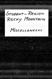 Student: Rocky Mountain region YWCA of the U.S.A. records, Record Group 11. Microfilmed central files