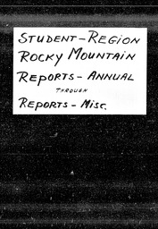 Student: Rocky Mountain region YWCA of the U.S.A. records, Record Group 11. Microfilmed headquarters files