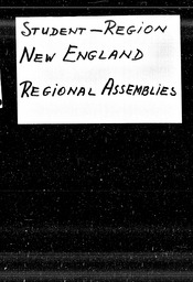 Student: New England region YWCA of the U.S.A. records, Record Group 11. Microfilmed headquarters files