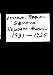 Student: Geneva region YWCA of the U.S.A. records, Record Group 11. Microfilmed central files