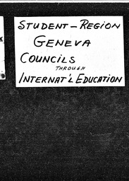 Student: Geneva region YWCA of the U.S.A. records, Record Group 11. Microfilmed headquarters files
