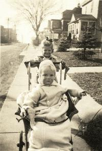 Sylvia Plath pushing her brother in a stroller