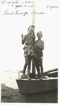 Sylvia and Warren Plath on a sailboat in Winthrop, Massachusetts