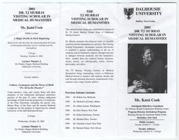 Brochure announcing lectures by Katsi Cook at Dalhousie University