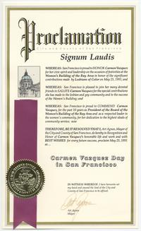 Proclamation of Carmen Vázquez Day in San Francisco