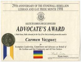 Advocate's Award presented to Carmen Vázquez by the Public Advocate for the City of New York