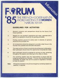 Forum '85: The 1985 Non-Governmental World Meeting of Women Activity Guidelines