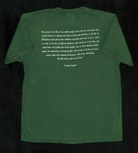 "Green shirt with quote from Carmen Vázquez's speech, ""Wounded Attachment"""