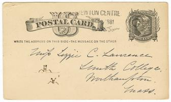 Postal card from Lucy Watson Davis to Elizabeth Crocker Lawrence