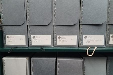 Archival boxes at Hampshire College