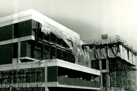Early construction of the Harold F. Johnson Library at Hampshire College